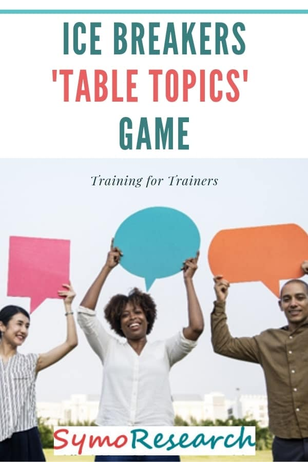 Table topics icebreaker game and activity