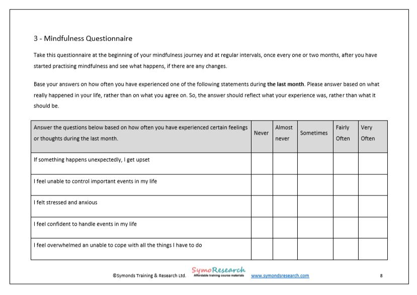 Participants workbook mindfulness questionnaire