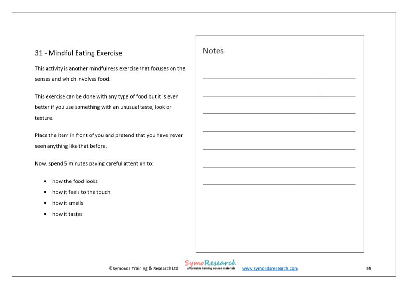 Training workbook mindful eating exercise