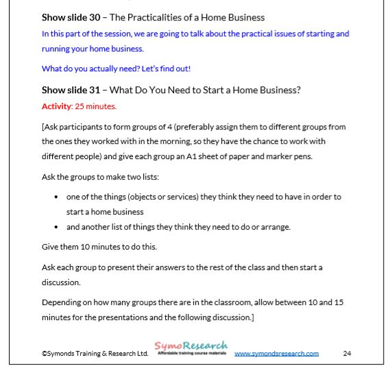 Trainer Notes. Practicalities of running a home business from starting a home business training package