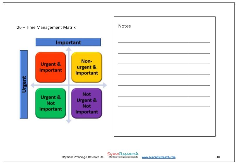Training workbook time management matrix