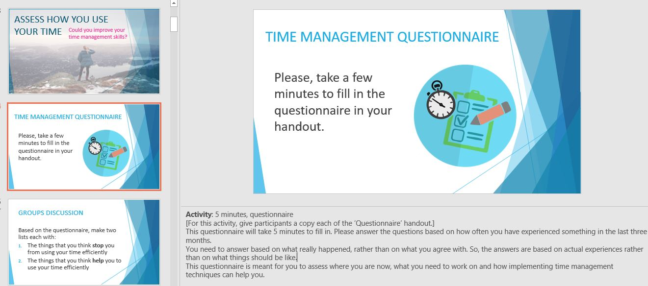 Time management training material PowerPoint