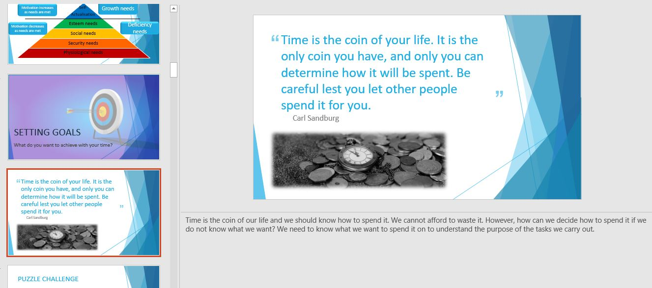 Time management quote from time management training