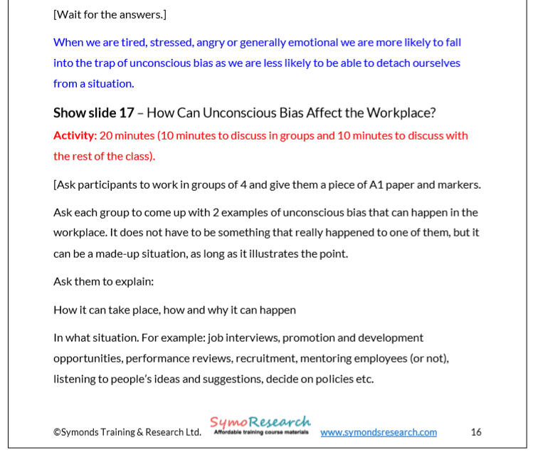 Trainer notes. Effects of unconscious bias in the workplace from unconscious bias training course material