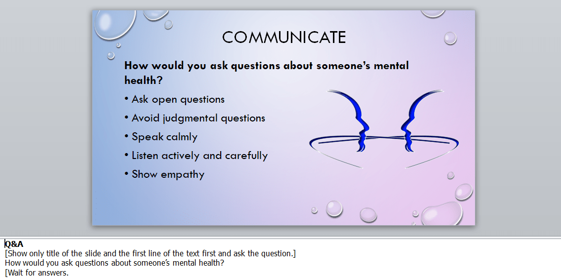 How to ask questions about mental health PowerPoint slide from mental health awareness training course materials package