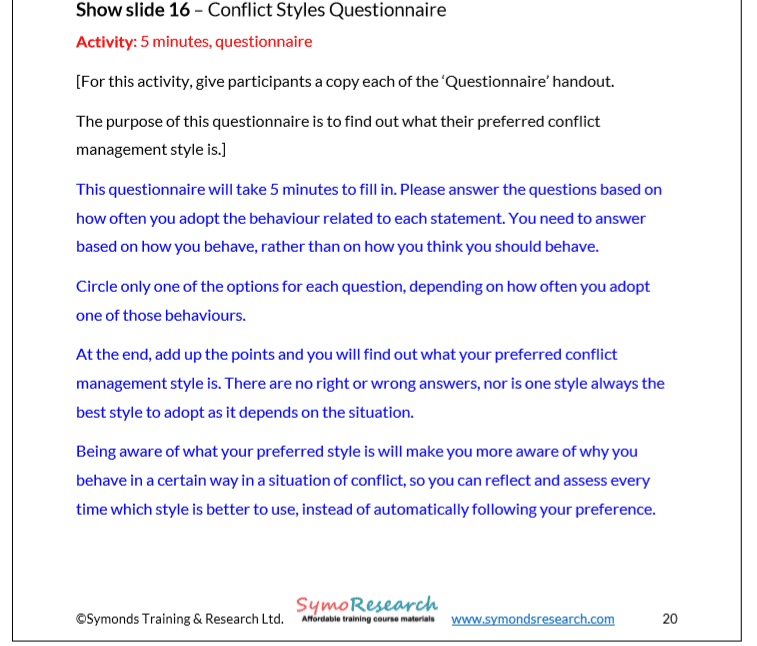 Trainer notes conflict handling styles questionnaire from conflict management training course materials