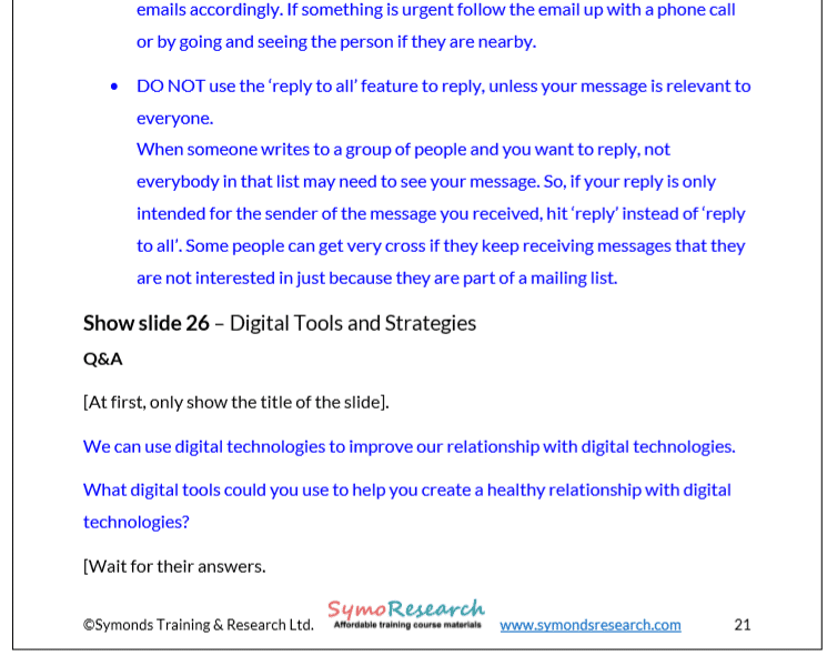 Trainer Notes. Digital wellbeing tools from digital wellness training package