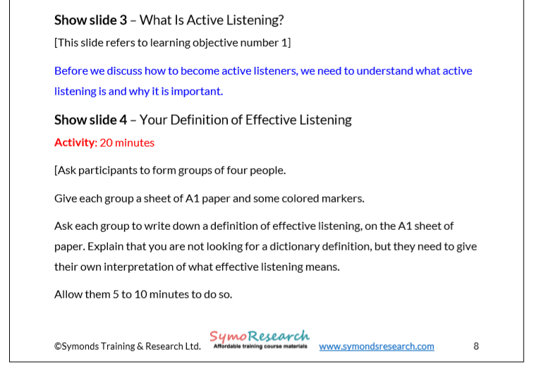 Trainer notes. Active listening definition activity from active listening training course materials