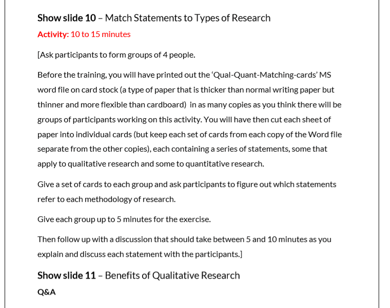 Trainer notes qualitative vs quantitative research statements matching exercise from qualitative research skills training course materials