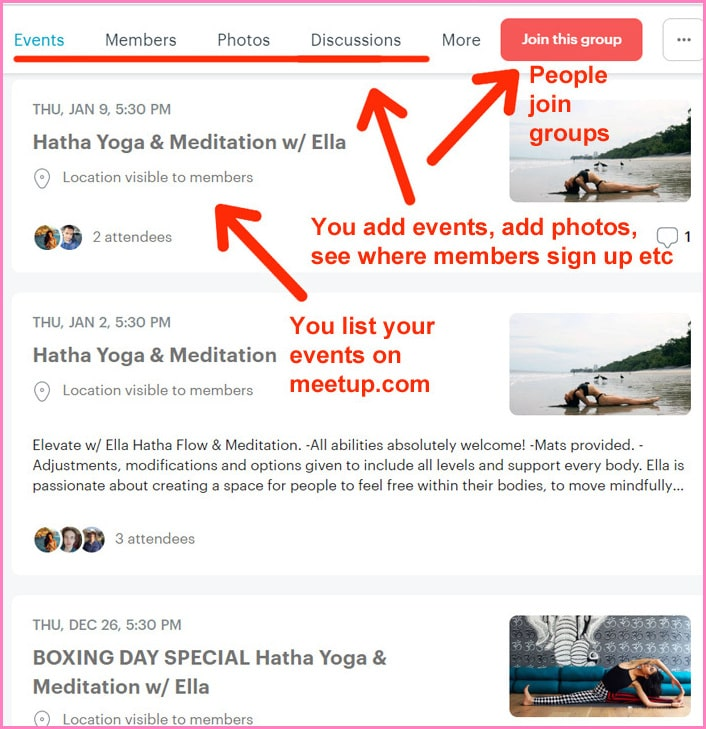 Events organizers interface on Meetup.com