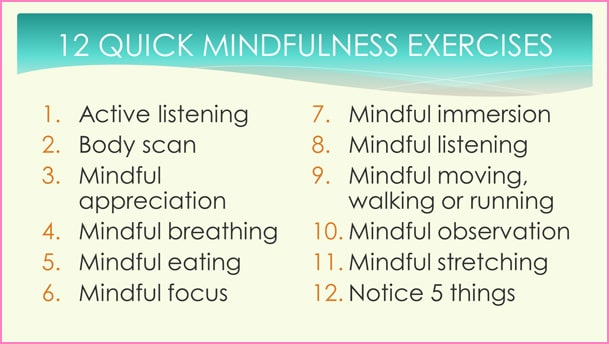 12 mindfulness exercises PowerPoint slide from mindfulness at work and for busy people training course materials package