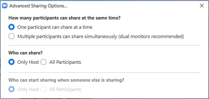 Setting host only sharing for Zoom online classes