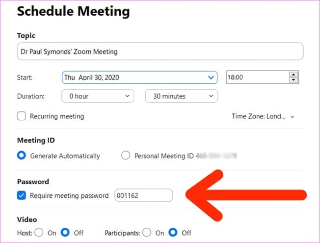 Schedule meeting with Zoom