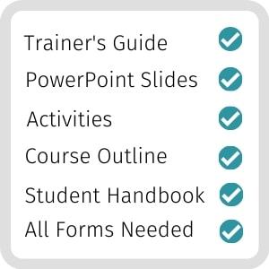 What's included in the training course materials packages