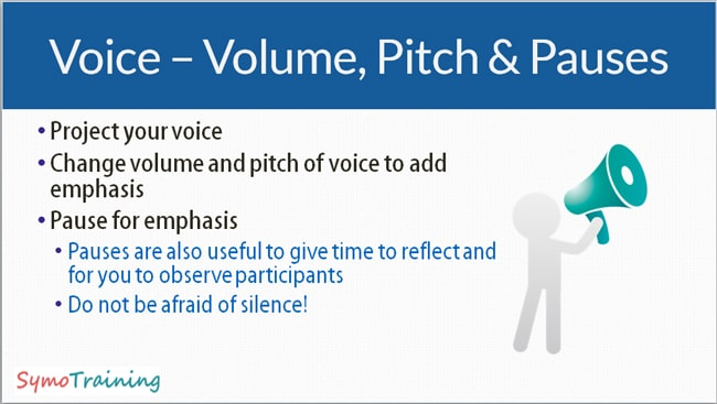 Using volume, voice and pitch as a presenter providing training.