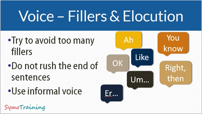 Solving elocution and fillers when presenting