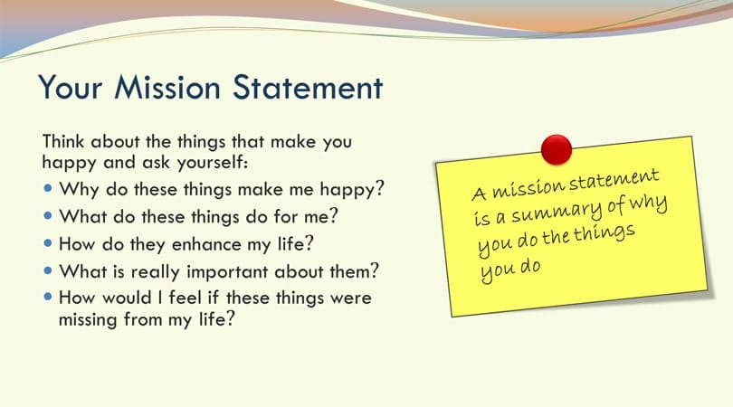 Mission statement life planning activity