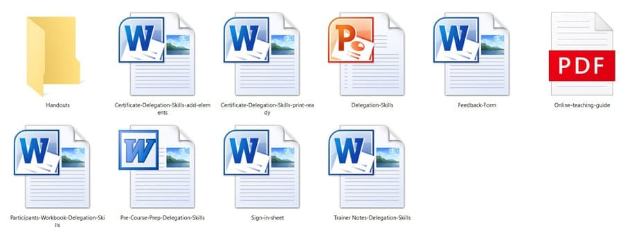 MS Word training materials documents and the PPT PowerPoint slides