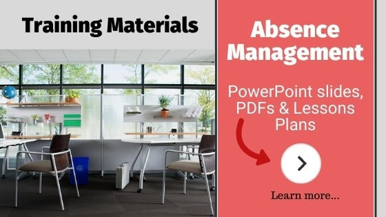 Absence management training PowerPoint slides and PDFs.