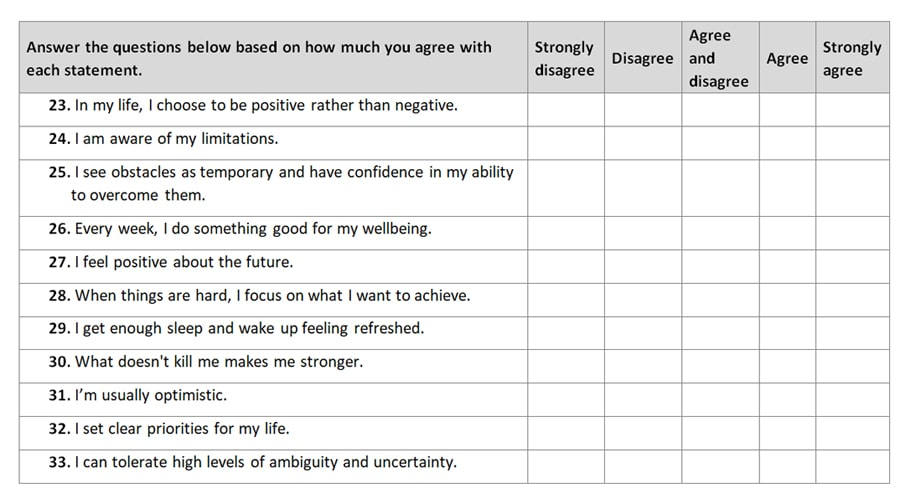 Resilience questionnaire