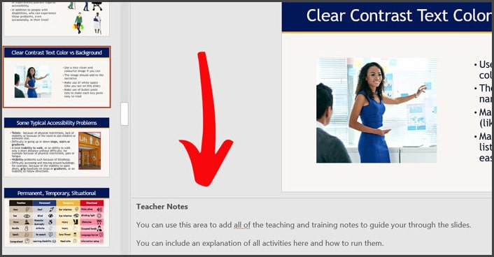 Using the PowerPoint teaching notes pane