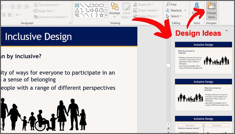 Design Ideas tool in PowerPoint